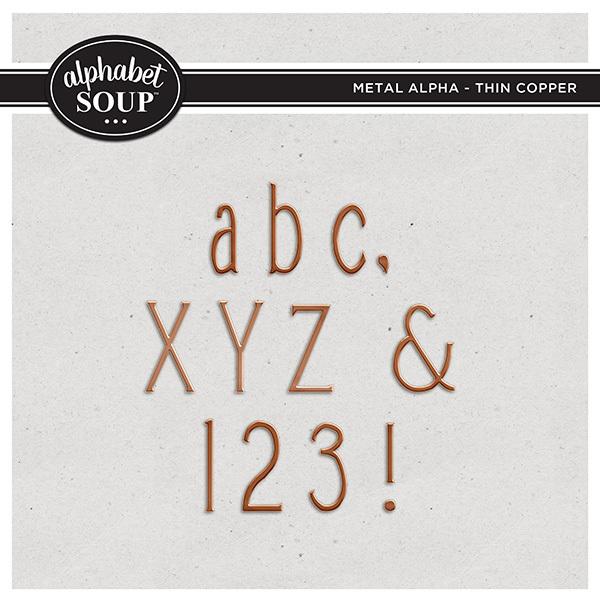 Metal Alpha - Thin Copper Digital Art - Digital Scrapbooking Kits