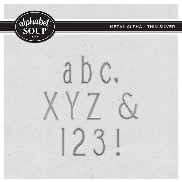 Metal Alpha - Thin Silver Digital Art - Digital Scrapbooking Kits