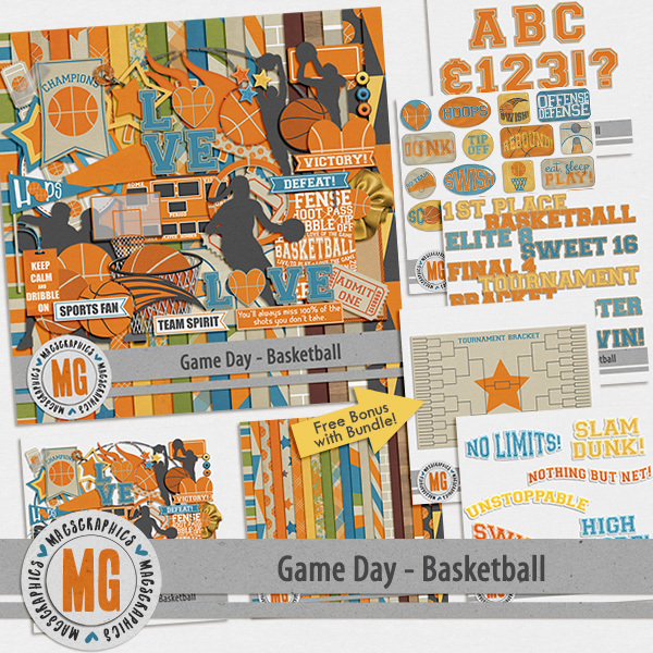 Game Day Basketball Bundle Digital Art - Digital Scrapbooking Kits