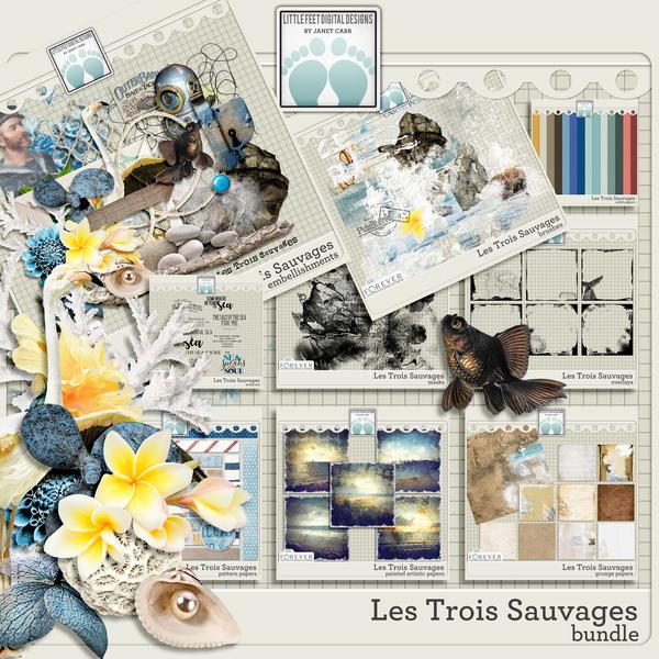 Les Trois Sauvages Bundle Digital Art - Digital Scrapbooking Kits