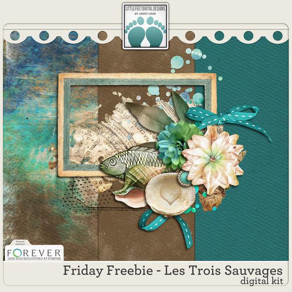 Friday Freebie - Les Trois Sauvages Digital Art - Digital Scrapbooking Kits