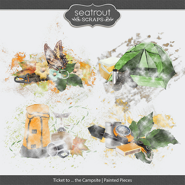 Ticket to ... the Campsite Painted Pieces Digital Art - Digital Scrapbooking Kits