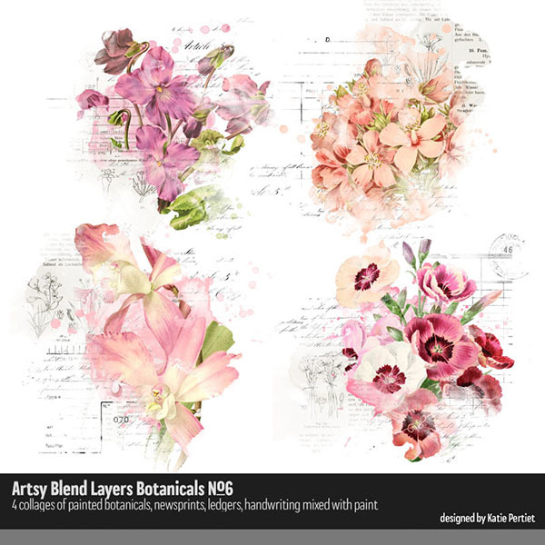 Artsy Blend Layers Botanicals 06 Digital Art - Digital Scrapbooking Kits