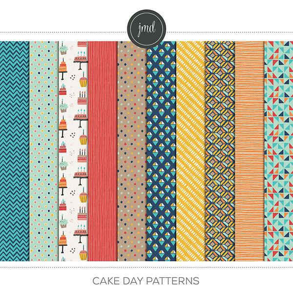 Cake Day Patterns Digital Art - Digital Scrapbooking Kits