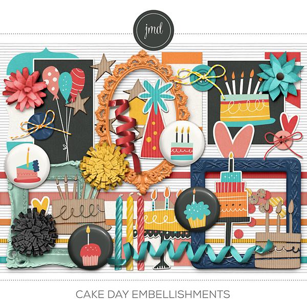Cake Day Embellishments Digital Art - Digital Scrapbooking Kits