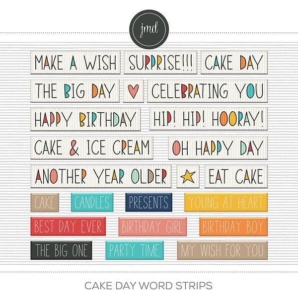 Cake Day Word Strips Digital Art - Digital Scrapbooking Kits