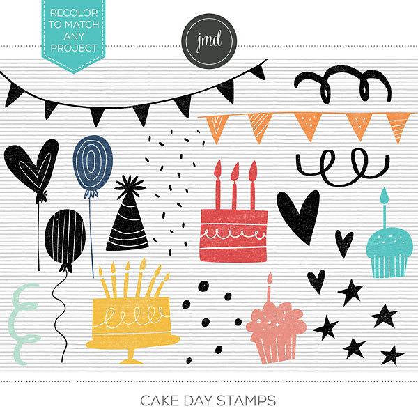 Cake Day Stamps Digital Art - Digital Scrapbooking Kits