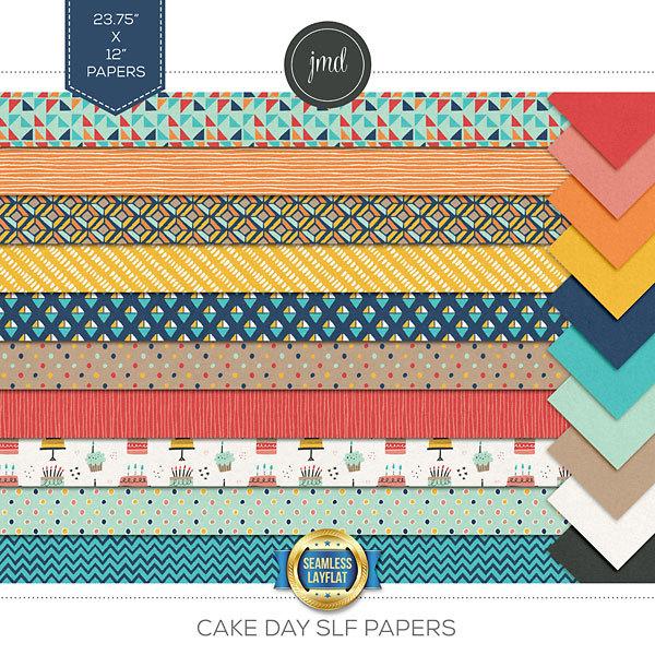 Cake Day SLF Papers Digital Art - Digital Scrapbooking Kits