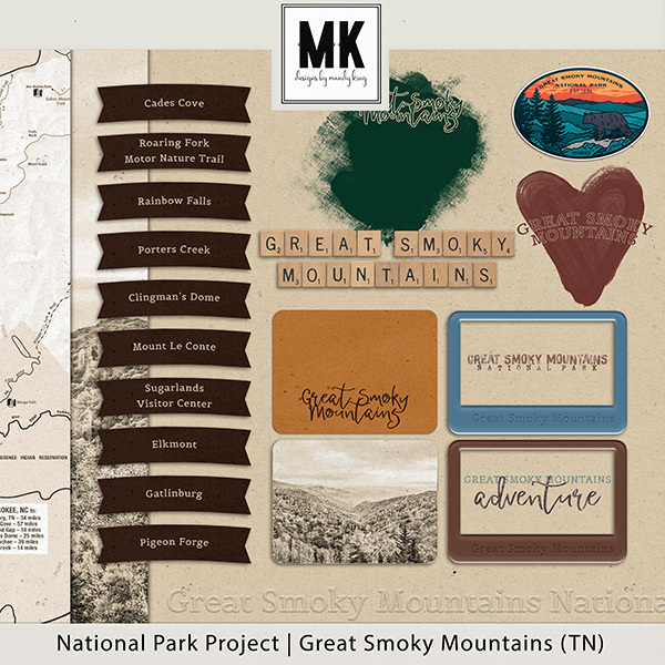 National Park Project Great Smoky Mountains Digital Art - Digital Scrapbooking Kits