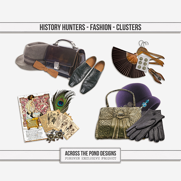 History Hunters - Fashion - Clusters Digital Art - Digital Scrapbooking Kits