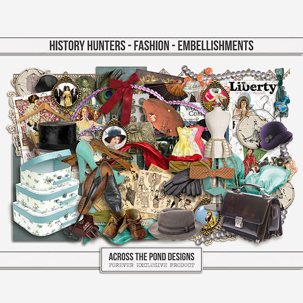 History Hunters - Fashion - Embellishments Digital Art - Digital Scrapbooking Kits