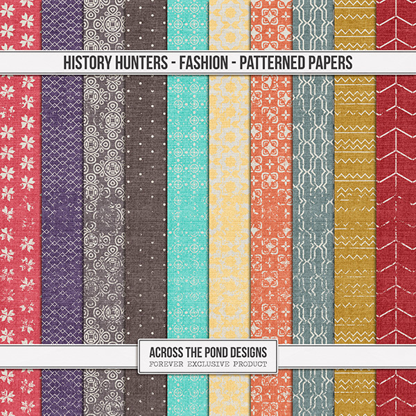 History Hunters - Fashion - Patterned Papers Digital Art - Digital Scrapbooking Kits