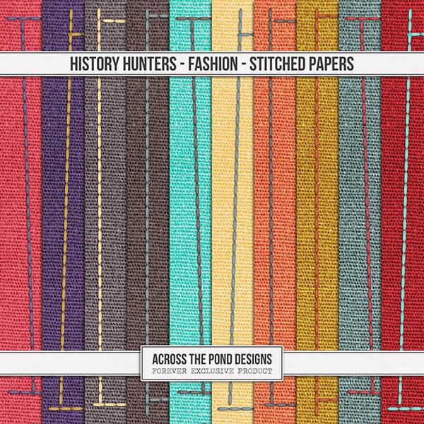 History Hunters - Fashion - Stitched Papers Digital Art - Digital Scrapbooking Kits