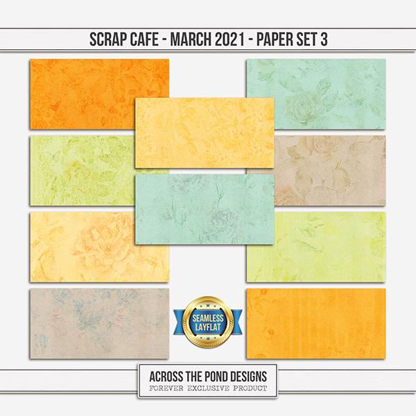 Scrap Cafe - March - Paper Set 3 Digital Art - Digital Scrapbooking Kits