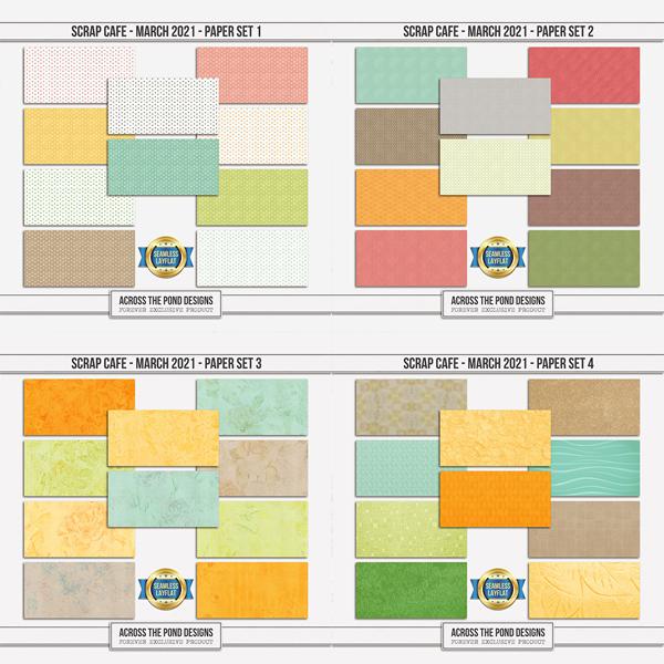 Scrap Cafe - March - SLF Paper Set Bundle Digital Art - Digital Scrapbooking Kits