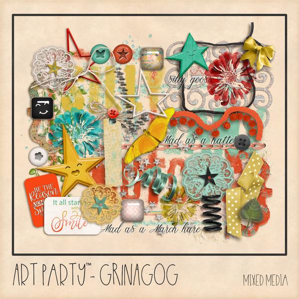 Grinagog Mixed Media Embellishments Digital Art - Digital Scrapbooking Kits