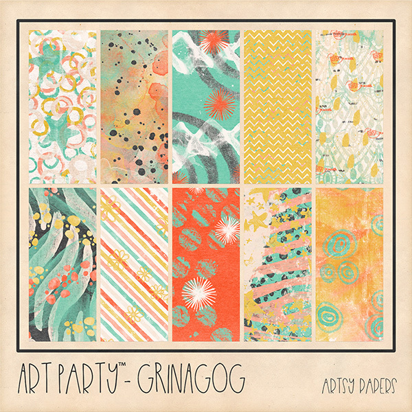 Grinagog Artsy Papers Digital Art - Digital Scrapbooking Kits