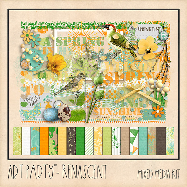 Renascent Mixed Media Collection Digital Art - Digital Scrapbooking Kits