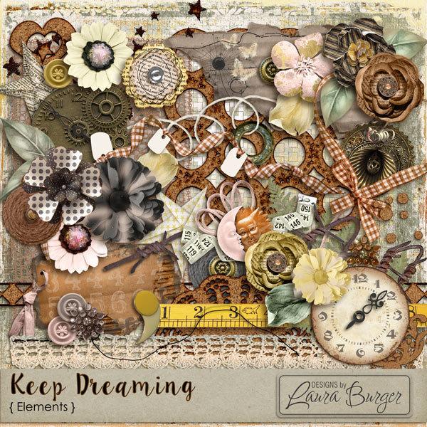 Keep Dreaming Elements Digital Art - Digital Scrapbooking Kits
