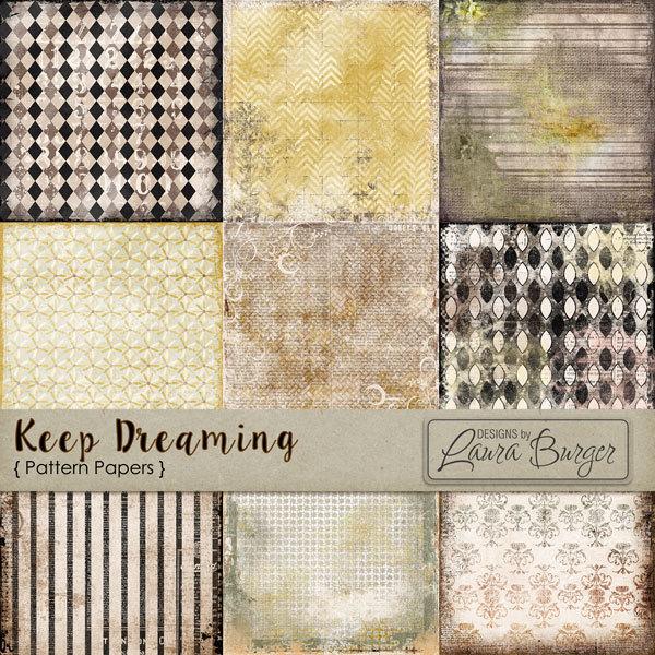 Keep Dreaming Pattern Papers Digital Art - Digital Scrapbooking Kits