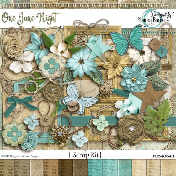 One June Night Scrap Kit Digital Art - Digital Scrapbooking Kits