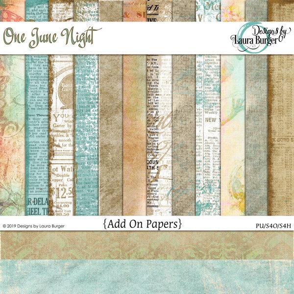 One June Night Grunge Papers Digital Art - Digital Scrapbooking Kits