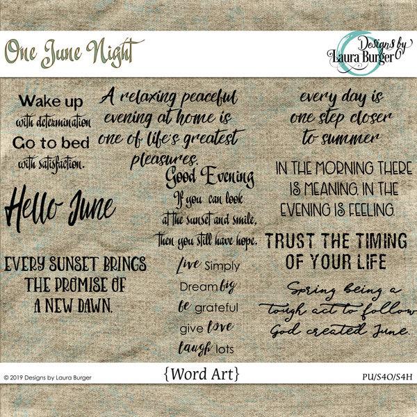 One June Night Word Art Digital Art - Digital Scrapbooking Kits