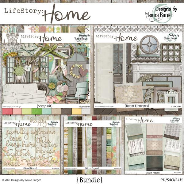 Life Story - Home Bundle Digital Art - Digital Scrapbooking Kits