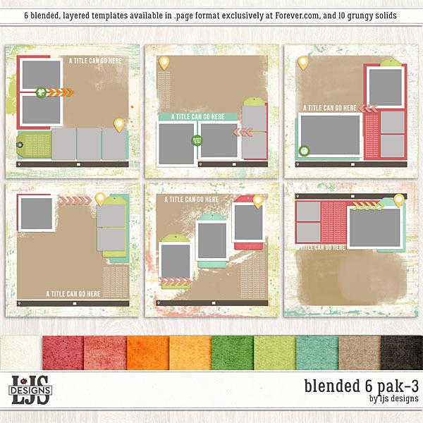 Blended 6 Pak 3 Digital Art - Digital Scrapbooking Kits