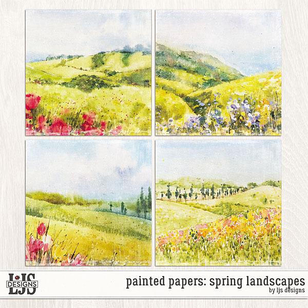 Painted Papers - Spring Landscapes Digital Art - Digital Scrapbooking Kits
