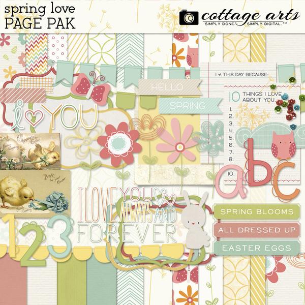 Spring Love Page Pak Digital Art - Digital Scrapbooking Kits