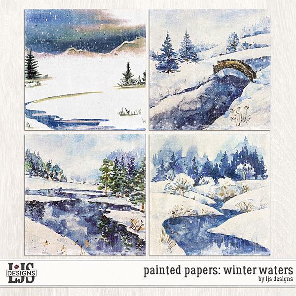 Painted Papers - Winter Waters Digital Art - Digital Scrapbooking Kits