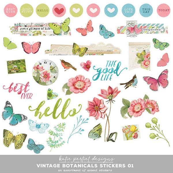 Vintage Botanicals Stickers 01 Digital Art - Digital Scrapbooking Kits