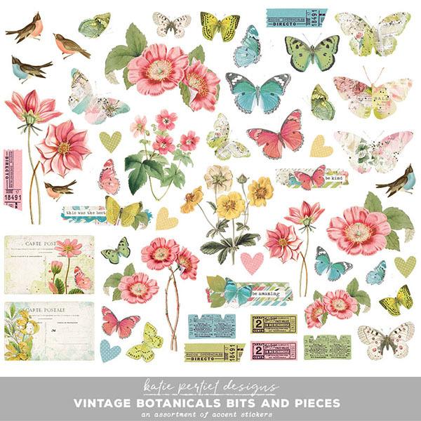 Vintage Botanicals Bits and Pieces Digital Art - Digital Scrapbooking Kits