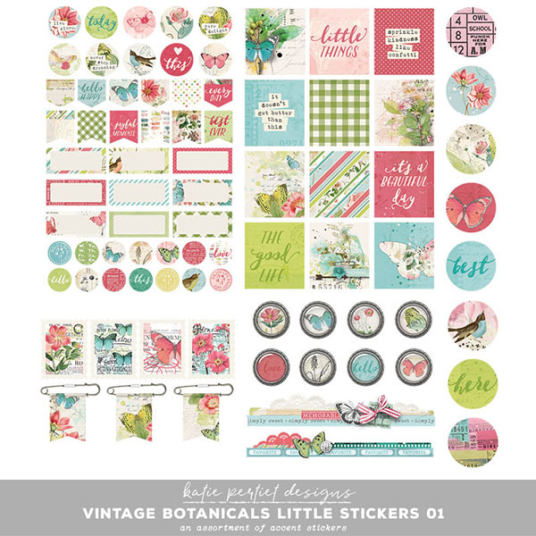 Vintage Botanicals Little Stickers 01 Digital Art - Digital Scrapbooking Kits