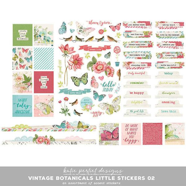 Vintage Botanicals Little Stickers 02 Digital Art - Digital Scrapbooking Kits