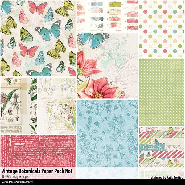 Vintage Botanicals Paper Pack 01 Digital Art - Digital Scrapbooking Kits