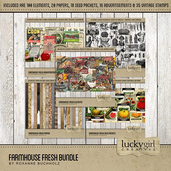 Farmhouse Fresh Bundle Digital Art - Digital Scrapbooking Kits