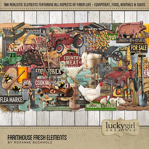 Farmhouse Fresh Elements Digital Art - Digital Scrapbooking Kits