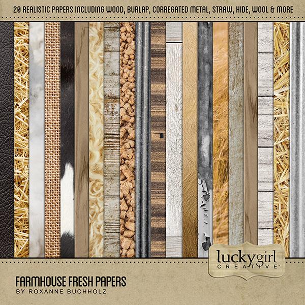 Farmhouse Fresh Papers Digital Art - Digital Scrapbooking Kits