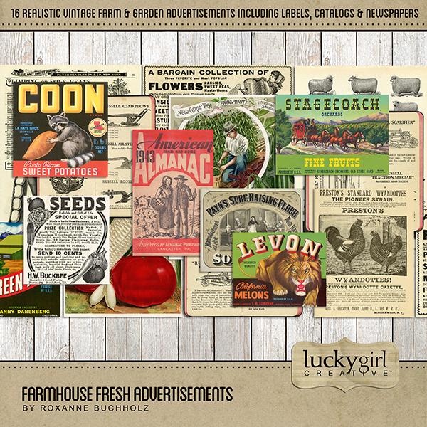 Farmhouse Fresh Advertisements Digital Art - Digital Scrapbooking Kits