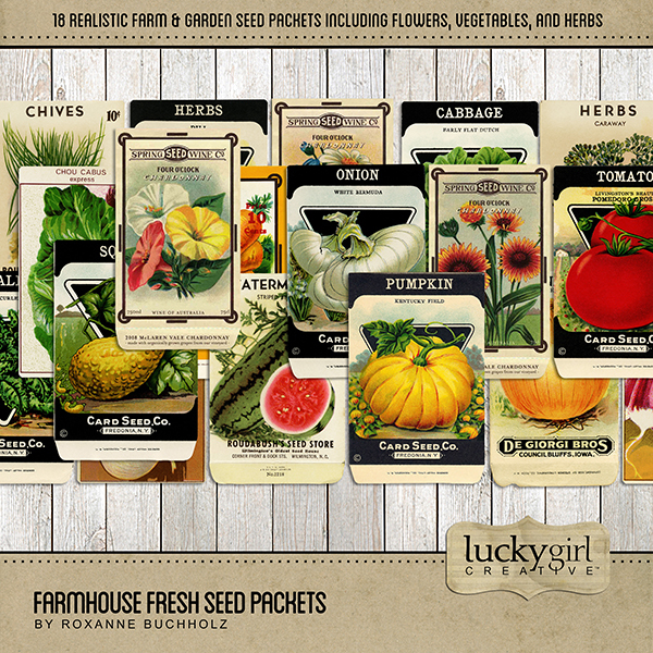 Farmhouse Fresh Seed Packets Digital Art - Digital Scrapbooking Kits