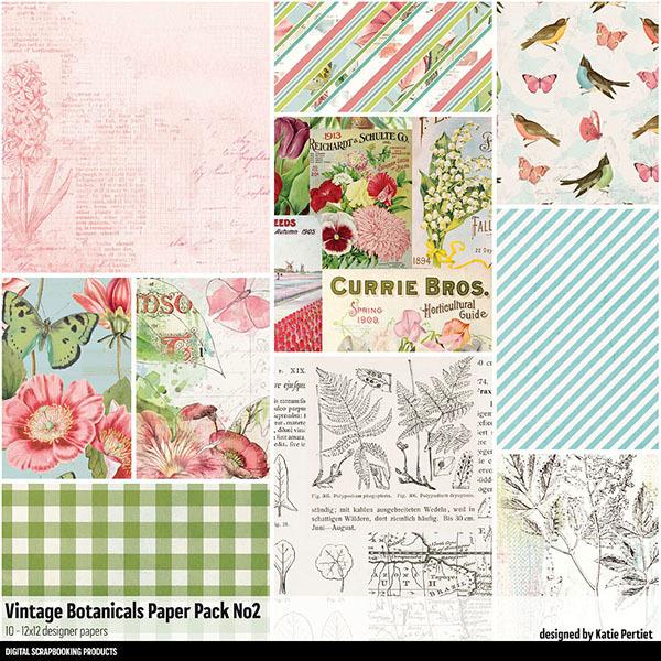 Vintage Botanicals Paper Pack 02 Digital Art - Digital Scrapbooking Kits