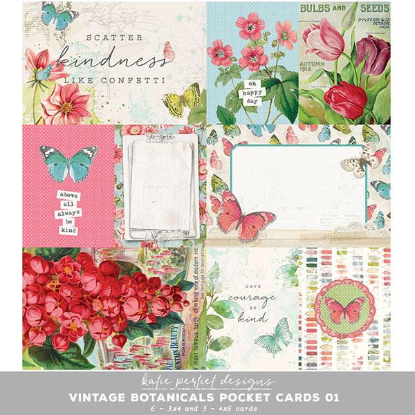 Vintage Botanicals Pocket Cards 01 Digital Art - Digital Scrapbooking Kits