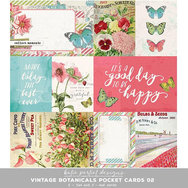 Vintage Botanicals Pocket Cards 02 Digital Art - Digital Scrapbooking Kits