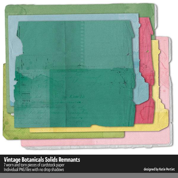 Vintage Botanicals Solids Remnants Digital Art - Digital Scrapbooking Kits