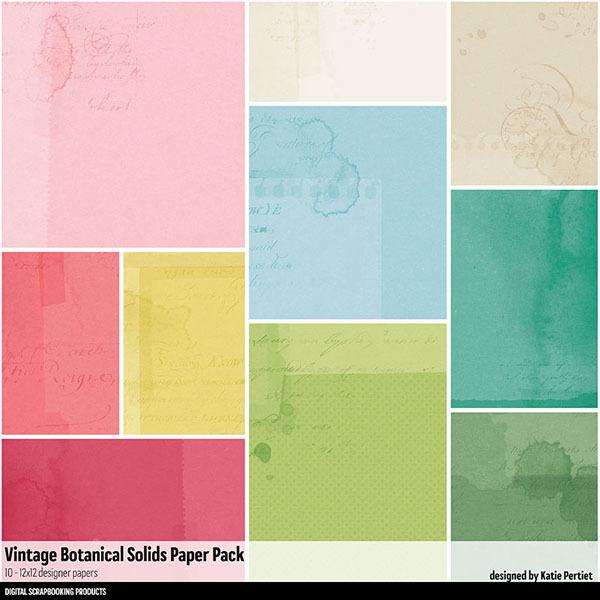 Vintage Botanicals Solids Paper Pack Digital Art - Digital Scrapbooking Kits