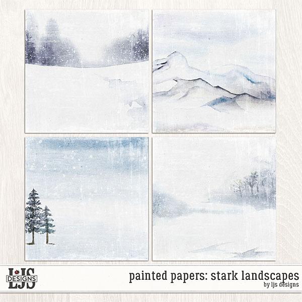 Painted Papers - Stark Landscapes Digital Art - Digital Scrapbooking Kits