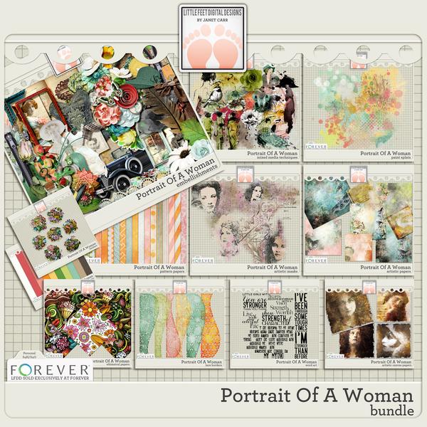 Portrait Of A Woman Bundle Digital Art - Digital Scrapbooking Kits