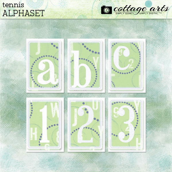 Tennis AlphaSet Digital Art - Digital Scrapbooking Kits